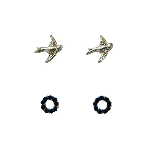 Bops Gold Dove and Black Crystal stud earrings