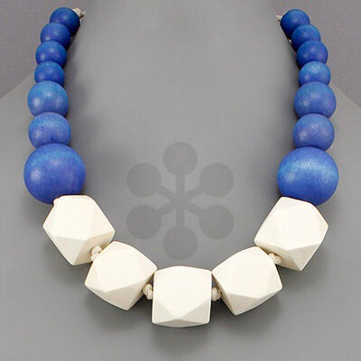 Blue and White wood cubed and circle necklace