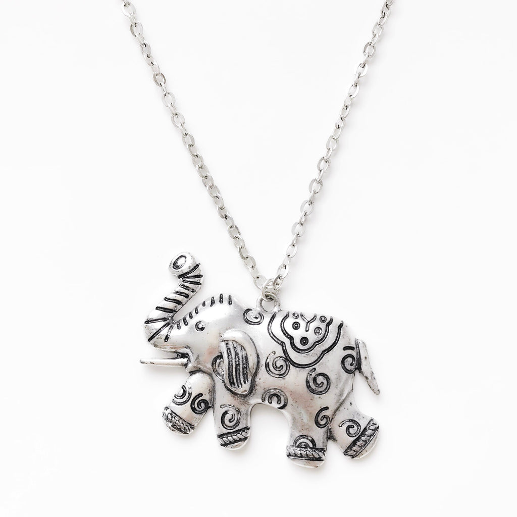 Silver Elephant Charm Long Chain Necklace