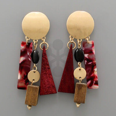 Red Burgundy geometric dangle earrings