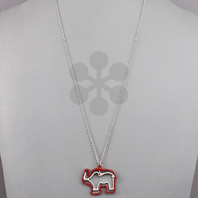 Red and silver elephant outline necklace