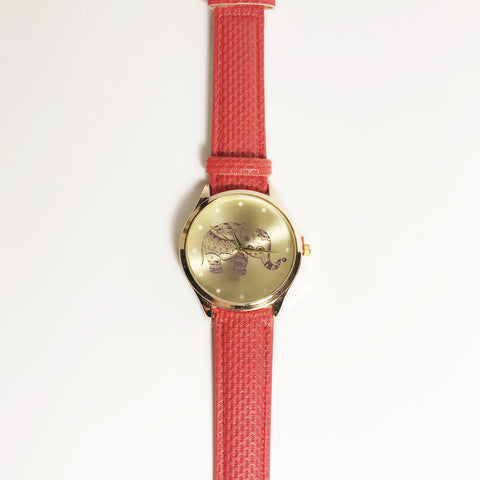 Red Elephant leather strap ladies watch