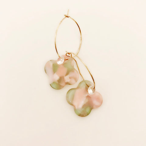 Pink and green marble acrylic clover drop earrings