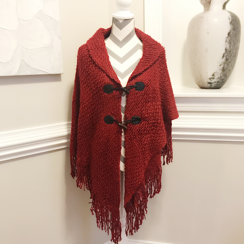 Red toggle sweater poncho cape
