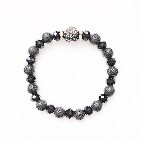Black lava stone and crystal bead bracelet
