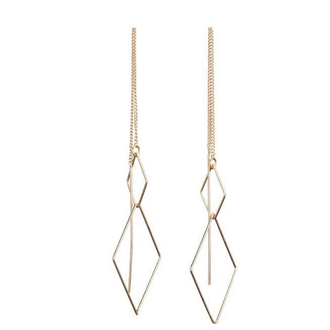 Bops Gold Double Diamond chain drop earrings