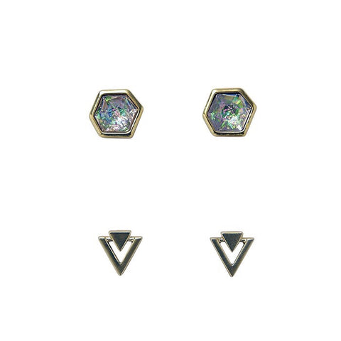Bops Gold Iridescent Hex & Double Triangle stud earrings