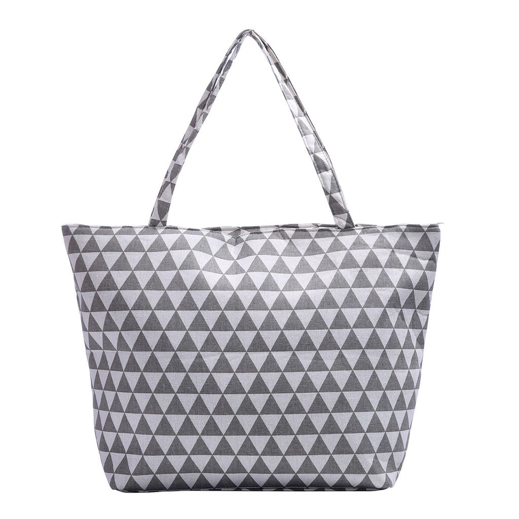 Gray and White tri-vector triangle canvas tote bag