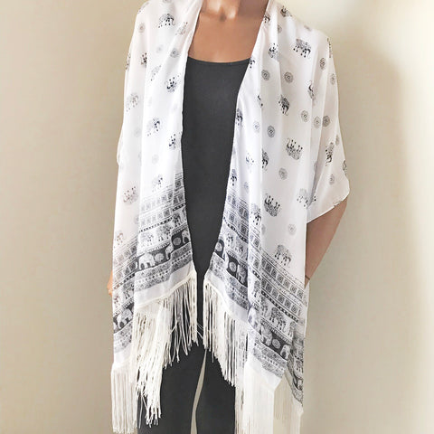 Black and White elephant fringe trim kimono