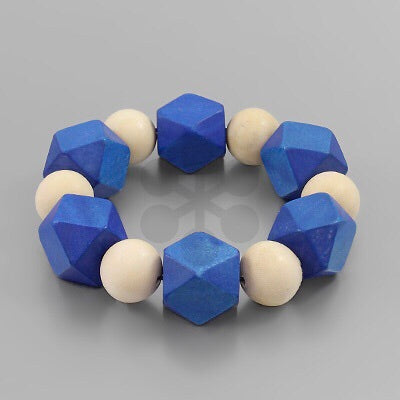 Blue and White wood geometric bracelet