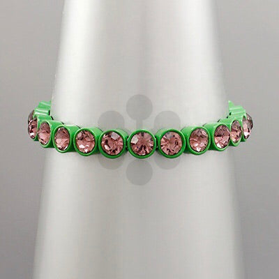 Pink and Green crystal and colored metal bracelet