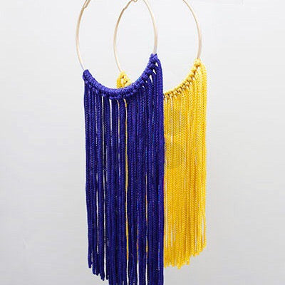Blue and Gold Tassel and Hoop Earrings