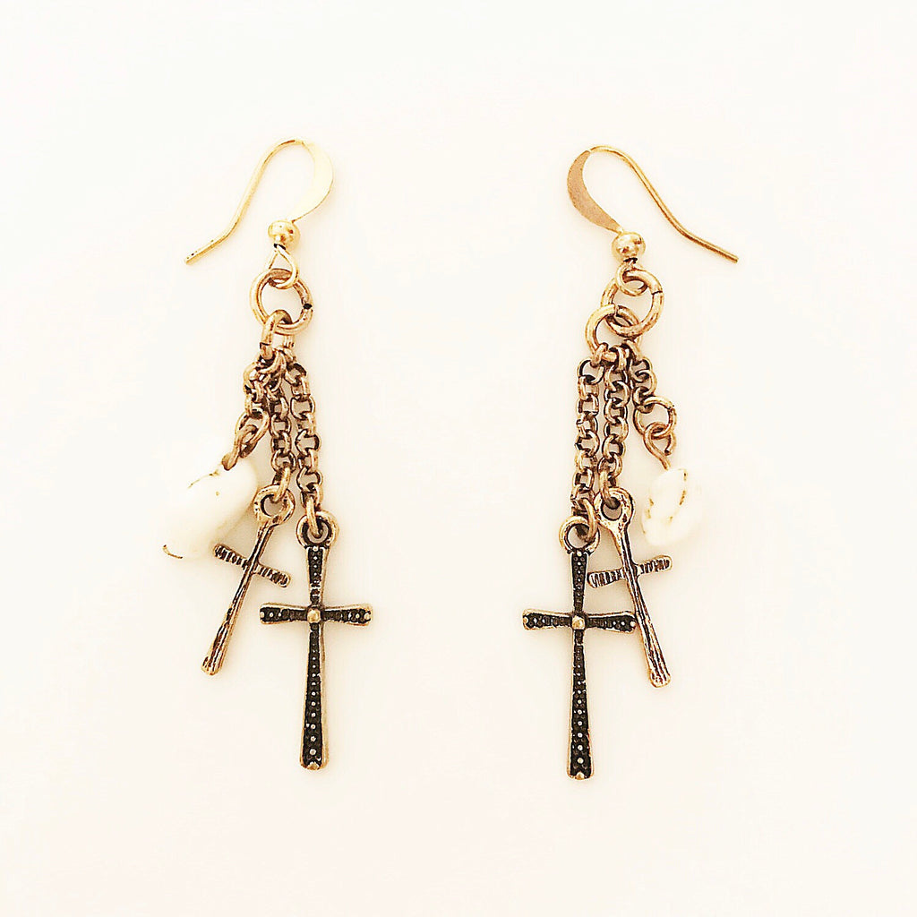 Gold Cross and White Turquoise dangle earrings