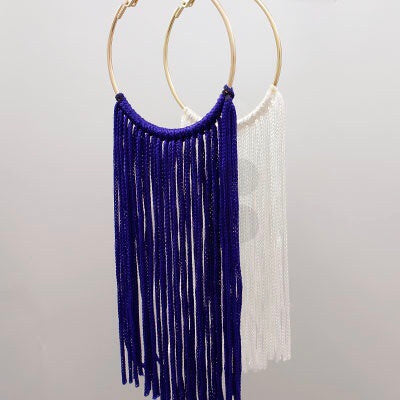 Blue and White Tassel and Hoop Earrings