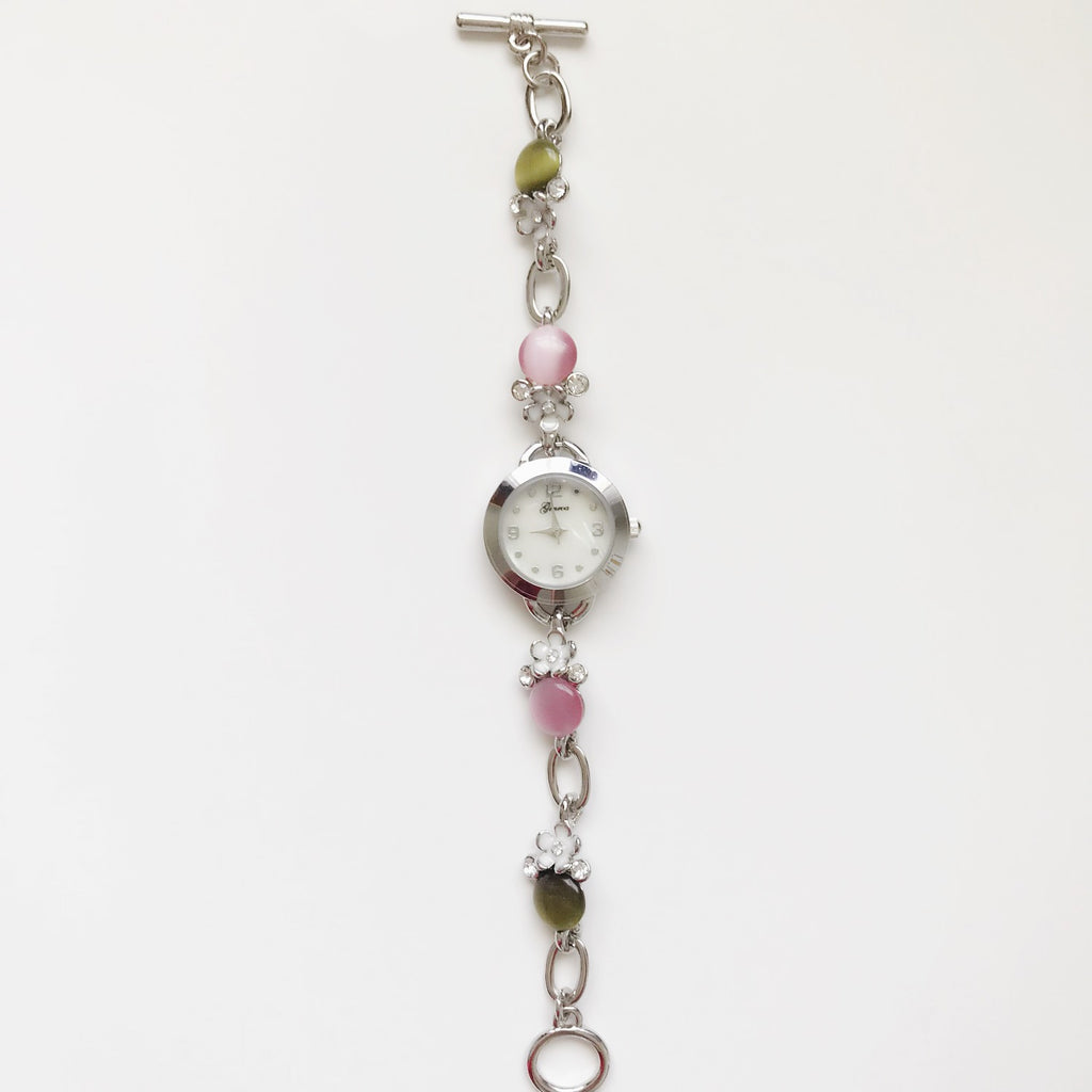 Pink and Green pearl bracelet watch