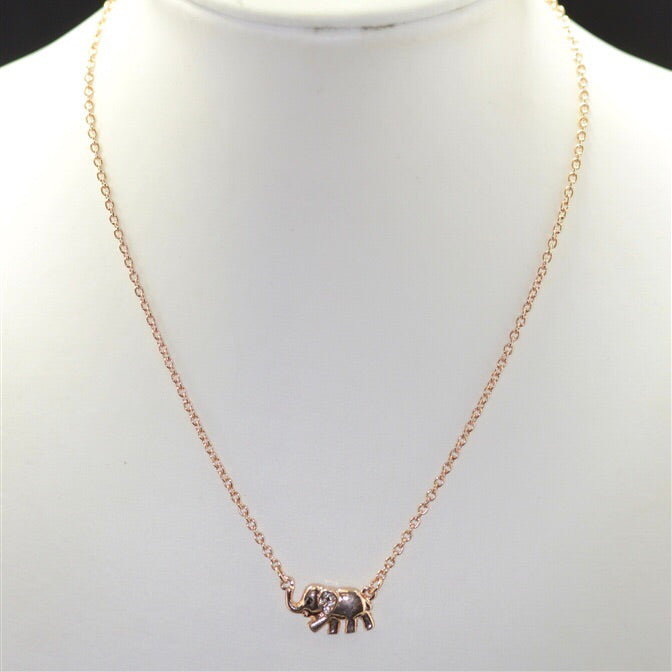 Rose Gold Rhinestone Small Elephant Necklace