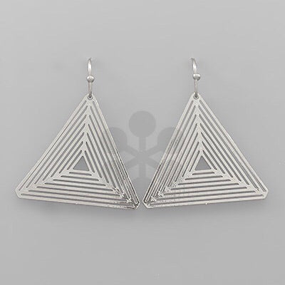 Silver triangle cut dangle earrings