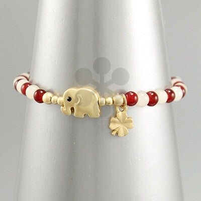 Red White and Gold elephant clover bead bracelet
