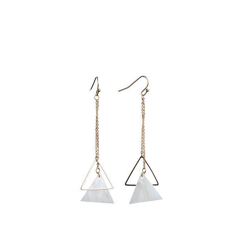 Bops Shell and Triangle chain drop earrings