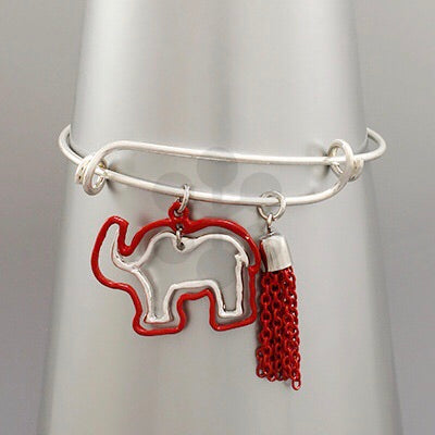 Red and Silver elephant outline bangle