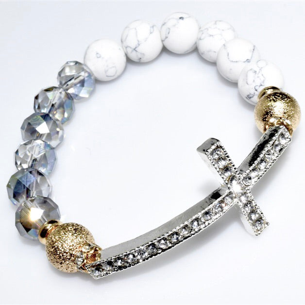 Howlite and crystal bead cross bracelet