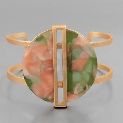 Pink and Green marble acrylic and gold bangle bracelet