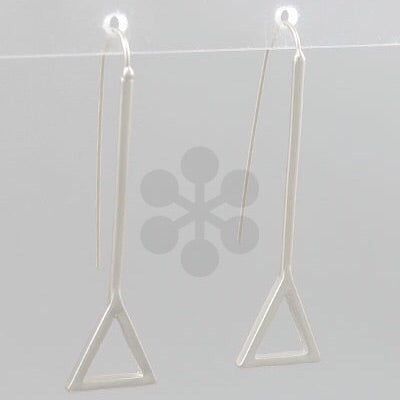 Silver Triangle Hook drop earrings