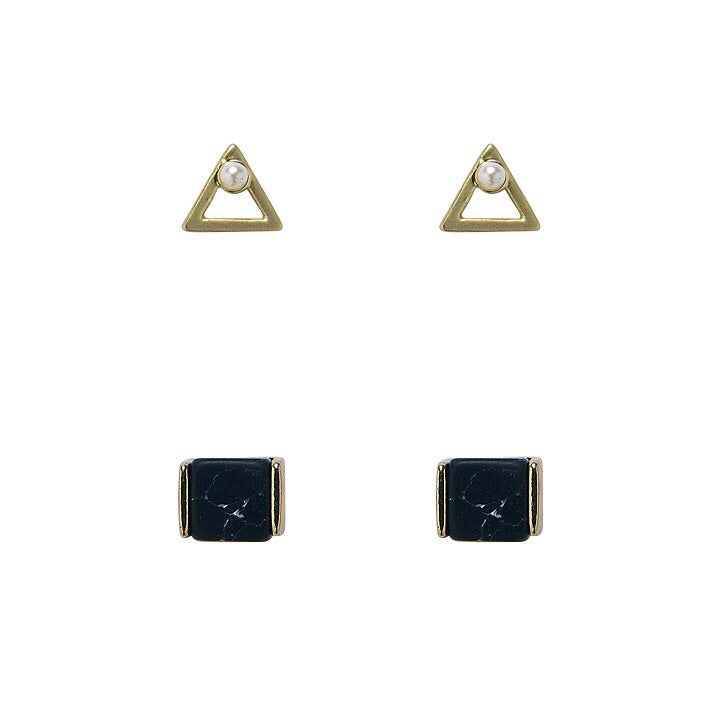 Bops Gold Pearl Triangle & Black Marble stud earrings