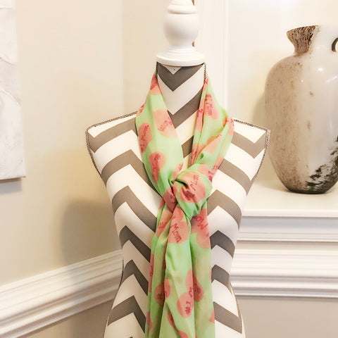 Pink and Green #1 MOM heart scarf