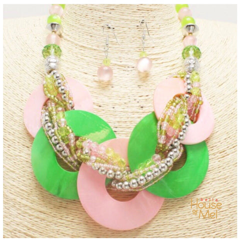 Pink and Green Mother Of Pearl Shell Collar Necklace and Earrings Set