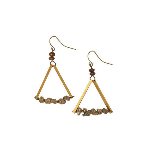 Bops Triangle with Pyrite stones drop earrings