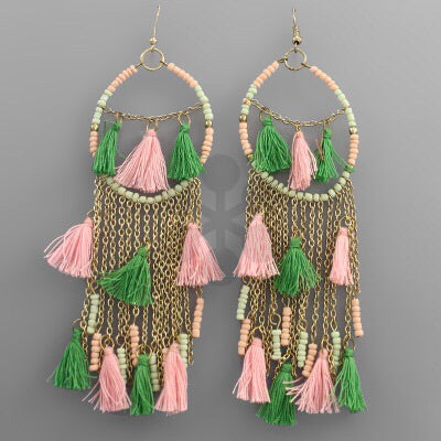 Pink and green tassel fringe earrings
