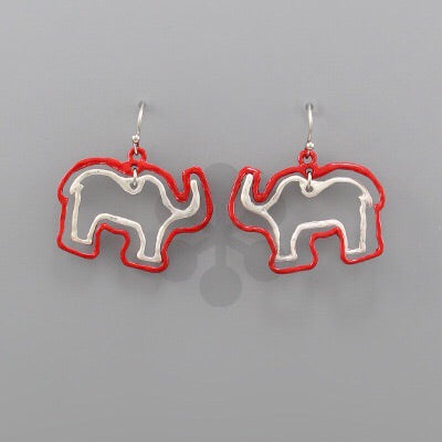 Red and Silver elephant outline earrings
