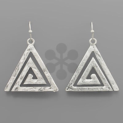 Silver Triangle spiral earrings