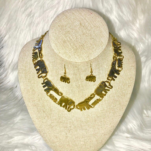 Gold Elephant collar necklace & earrings set