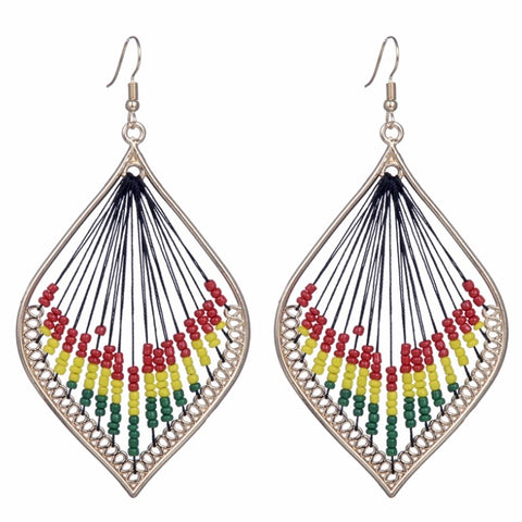 Ethnic multicolor sector bead earrings