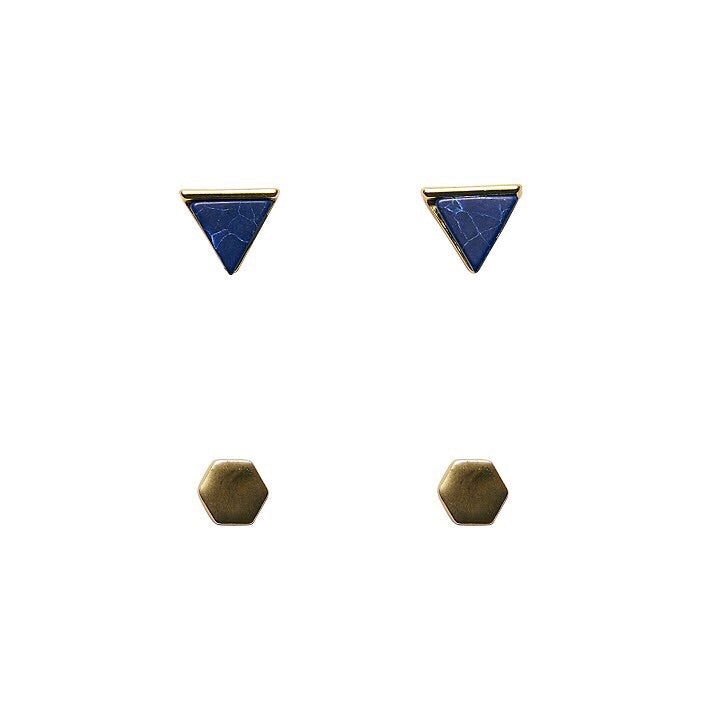 Bops Gold Navy Marble Triangle & Gold Hex stud earrings