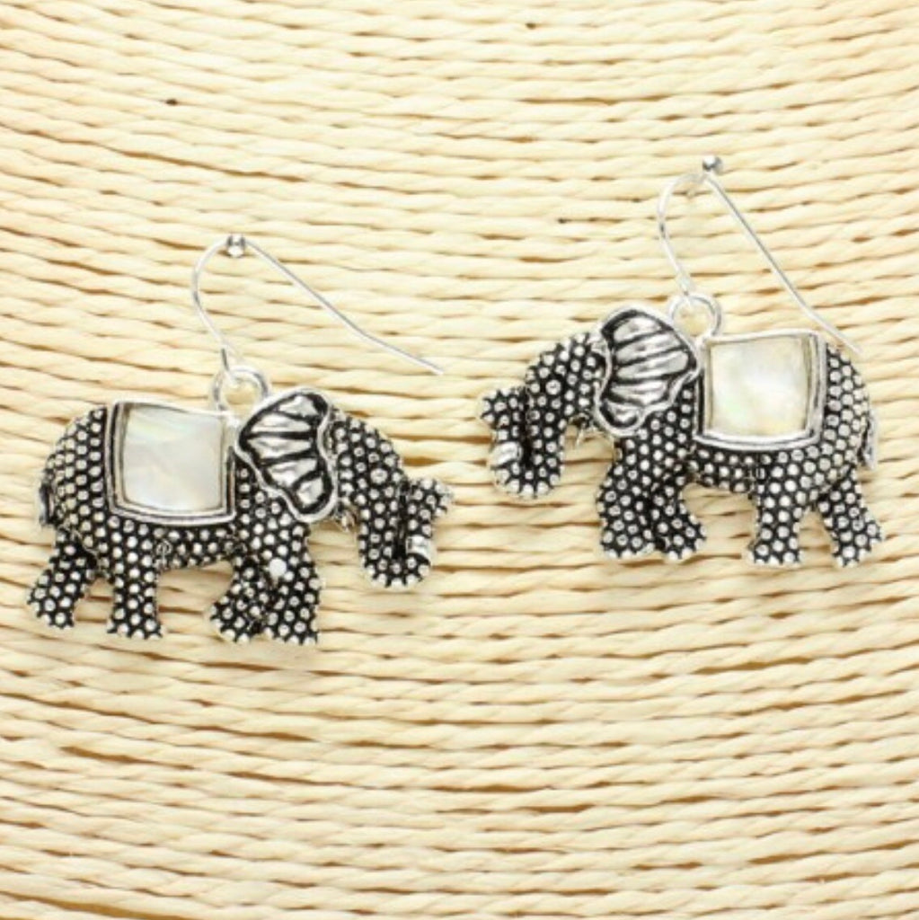 Mother Of Pearl Elephant Earrings