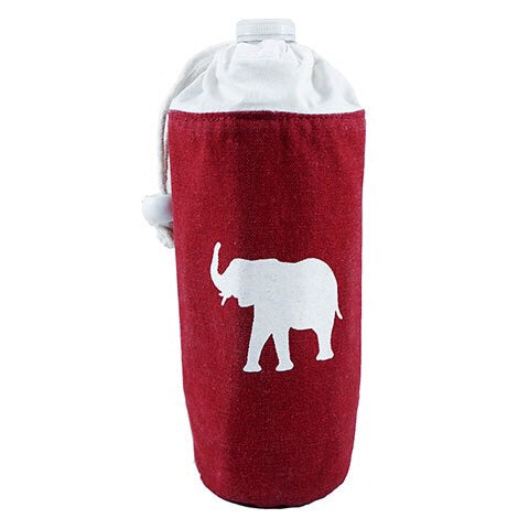 Crimson and white elephant insulated bottle cooler