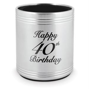 Stubby Holder Happy 40th Stainless Steel