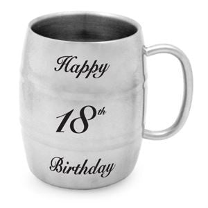 STAINLESS STEEL TANKARD 400ML - 18TH BIRTHDAY