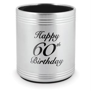 Stubby Holder Happy 60th Stainless Steel