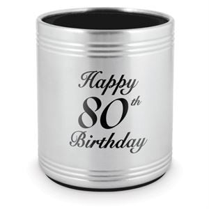 STAINLESS STEEL STUBBY HOLDER - HAPPY 80TH BIRTHDAY