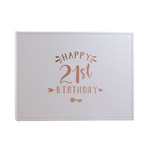 21st Birthday Guest Book White With Rose Gold Text