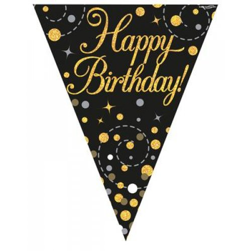 Sparkling Fizz Black and Gold Flag Bunting
