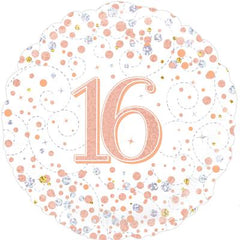 16th Sparkling Fizz Birthday White and Rose Gold 45cm Foil