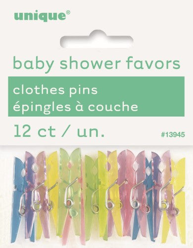 BABY CLOTHES PINS ASSORTED PACK OF 12