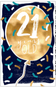 Aged Card Gold Balloon 21 Years Old