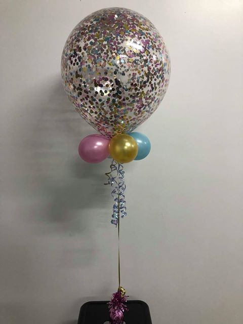 "Confetti Balloon 18"" /40cm Customized with Collar"