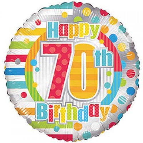 "70th Birthday Foil Strips & Lines 18""/45cm"